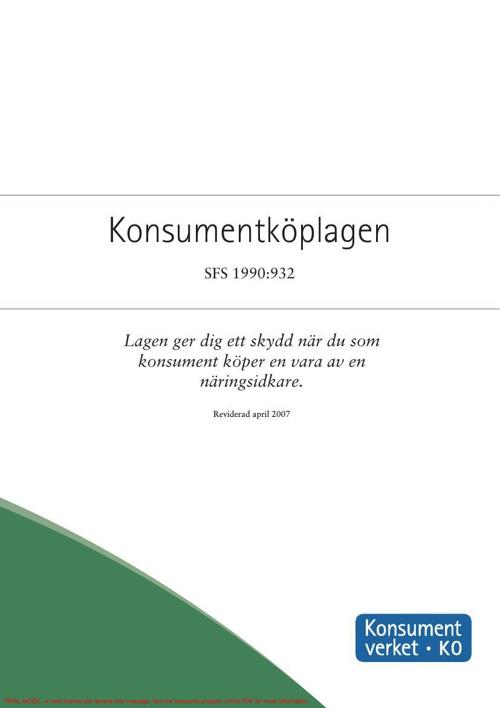 Konsumentköplagen SFS 1990_932, Konsumentverket