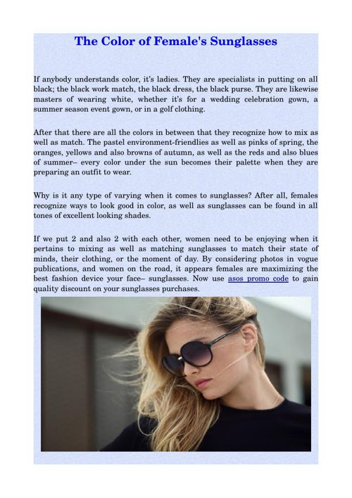 The Color of Female's Sunglasses
