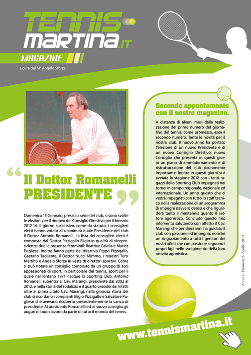 TennisMartina.it - 2° numero magazine aprile 2012