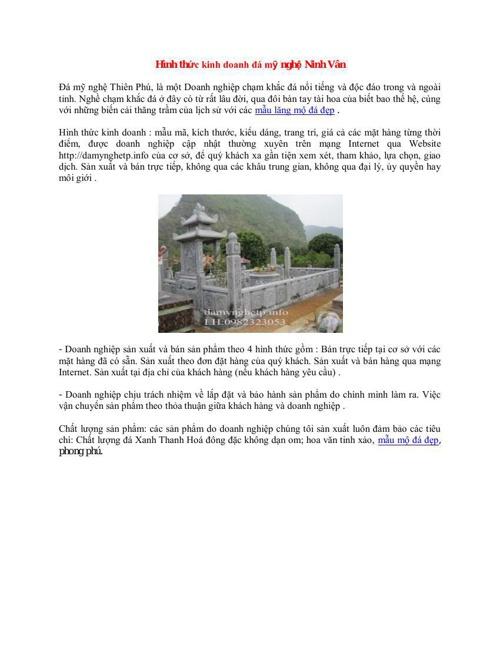 Hình thức kinh doanh đá mỹ nghệ Ninh Vân