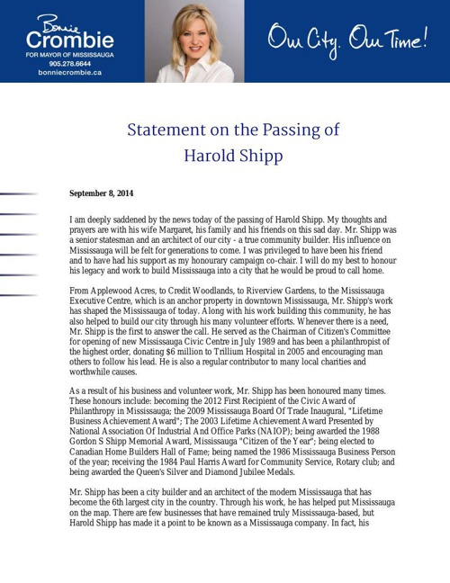 Bonnie Crombie - Statement on the Passing of Harold Shipp