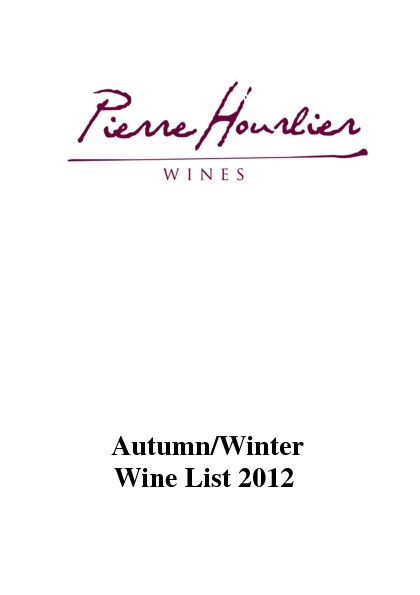 2012 Pierre Hourlier Autumn Winter Wine List