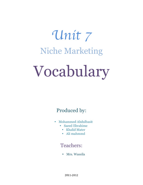 Unit 7 Vocabulary