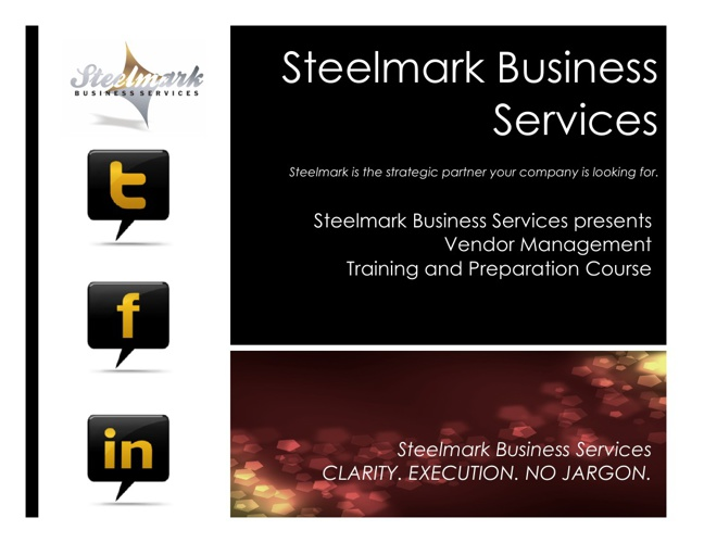 Steelmark Vendor Management Training & Preparation Course