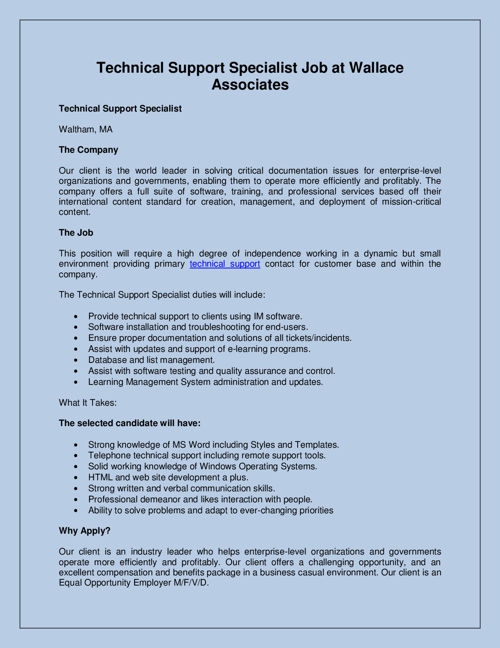 Technical Support Specialist Job at Wallace Associates