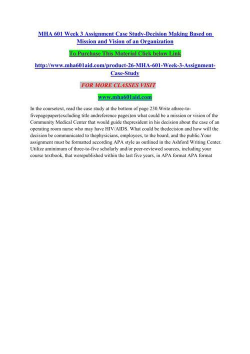 MHA 601 AID Quest For Excellence/mha601aiddotcom