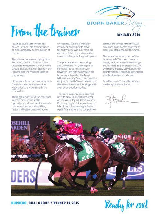 Bjorn Baker Racing Newsletter