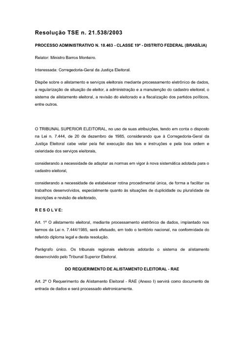 Resolução TSE n. 21.538/2003