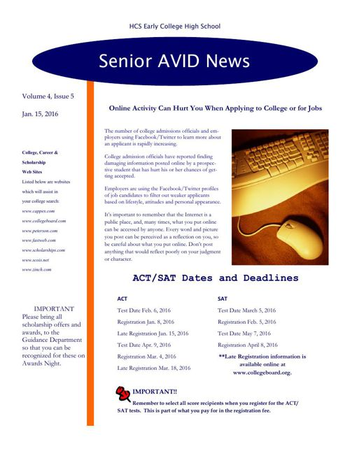 Senior Avid Newsletter #5-jan. 16