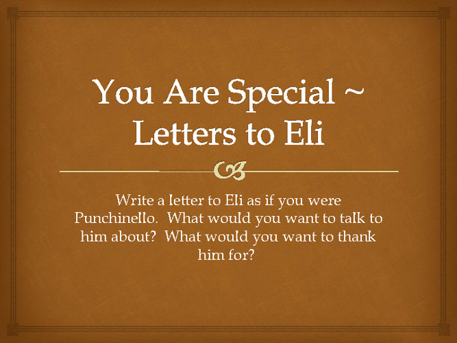 Letters to Eli