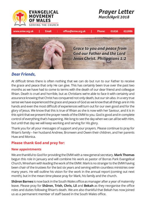 EMW Prayer Letter March/April 2018