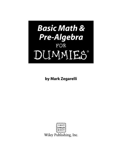 Basic Math & Pre-Algebra For DummiesNew Flip