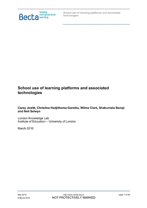 School use of Learning Platforms and Associated Technologies