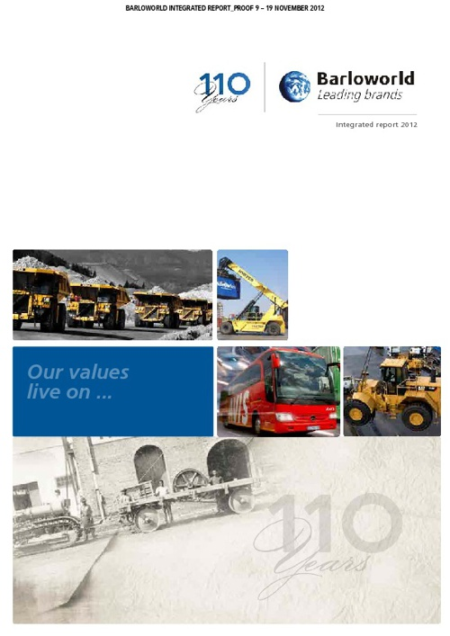 Barloworld Integrated Report 2012