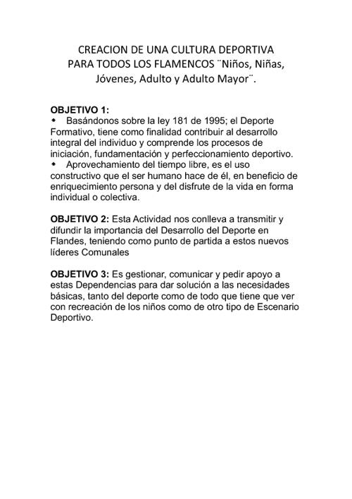 CULTURA DEPORTIVA PARA TODOS LOS FLAMENCOS.