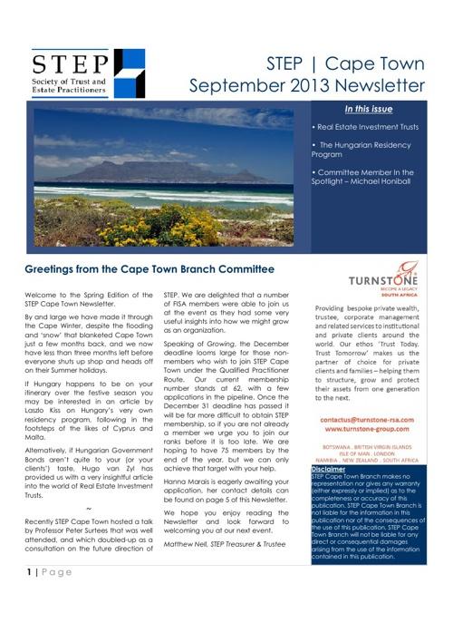 STEP Cape Town - September 2013 Newsletter