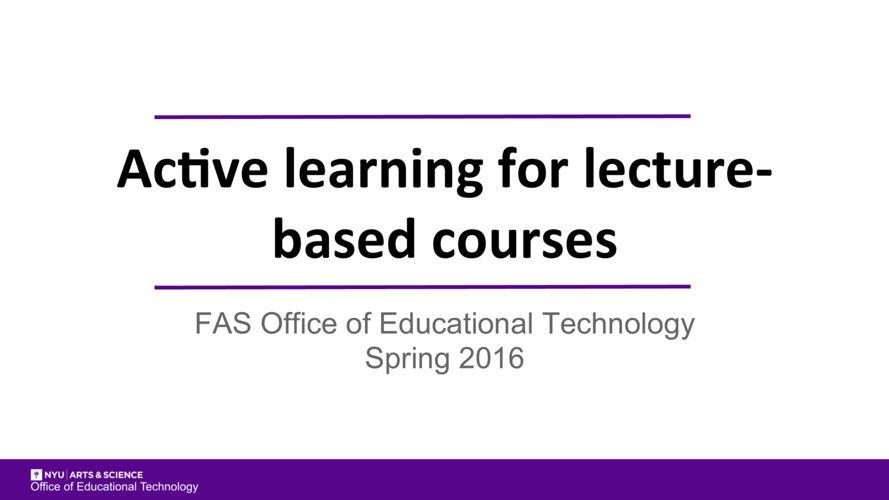 Short Video- Active Learning - pdf slides