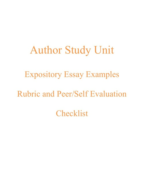 Expository Essay Examples for Author Study Unit