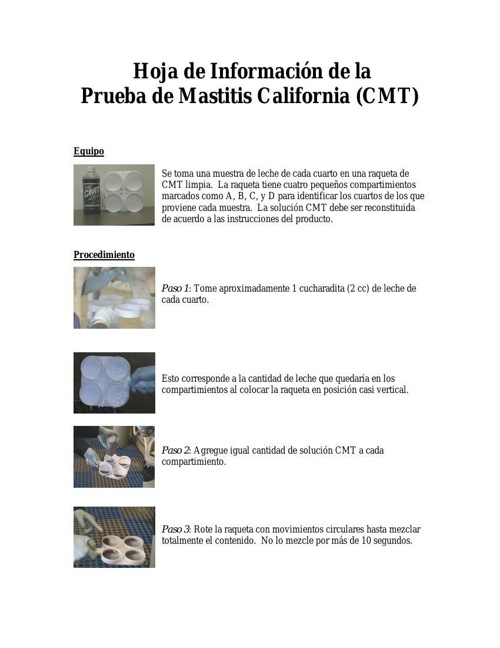 Hoja de informacion de la prueba de mastitis