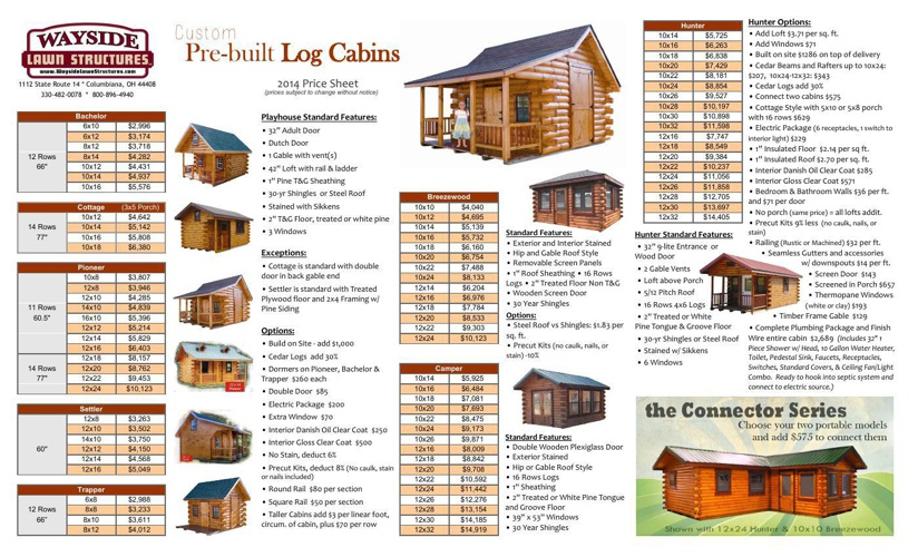 2014 Cabin Prices