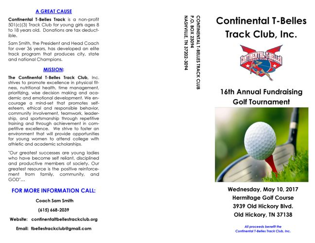 2017 Golf Tournament Brochure