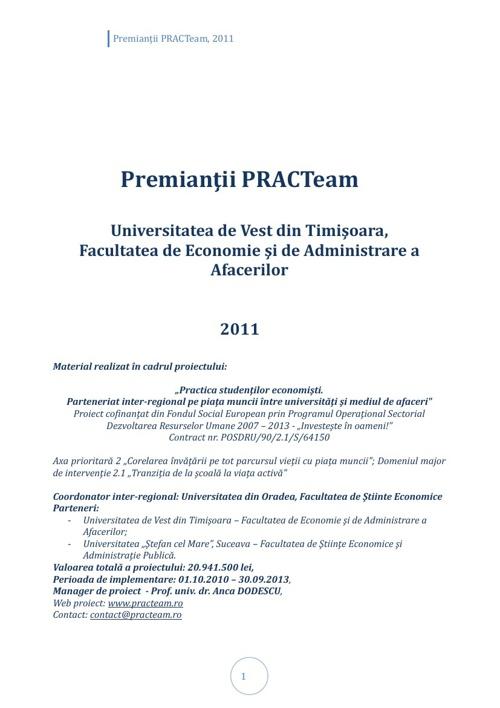 PRACTeam - Volum prezentare Premianți Timișoara, 2011