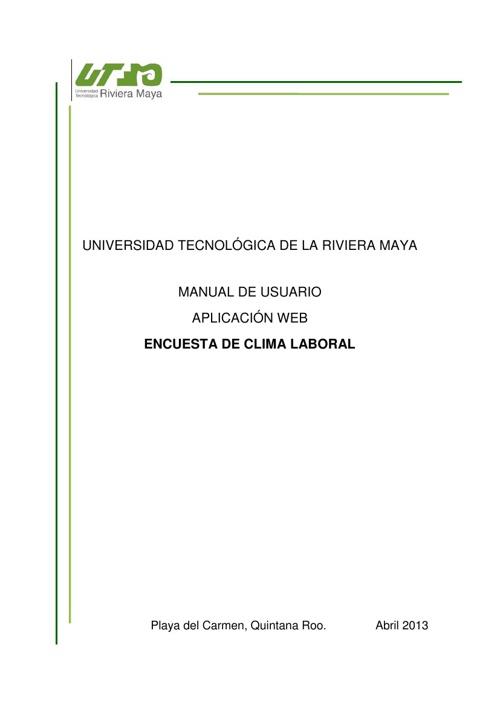 Manual de usuario. Encuesta de Clima Laboral [Aplicación WEB]