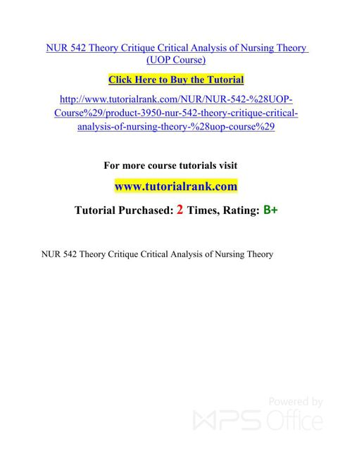 NUR 542 UOP Courses /TutorialRank