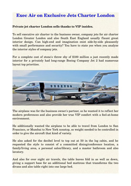 Exec Air on Exclusive Jets Charter London