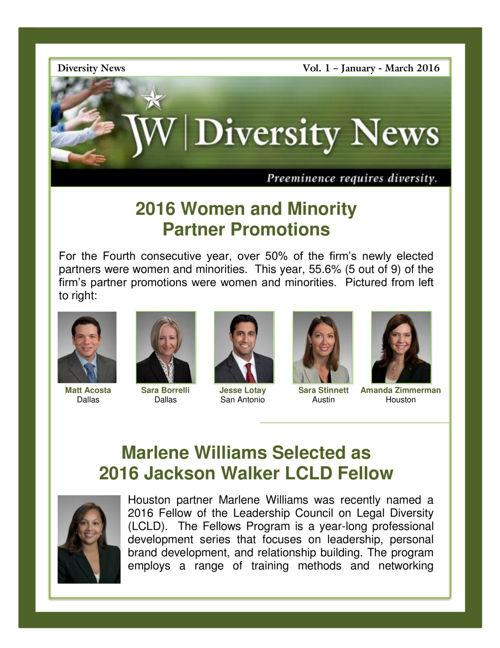 JW Diversity Newsletter Q-1, 2016