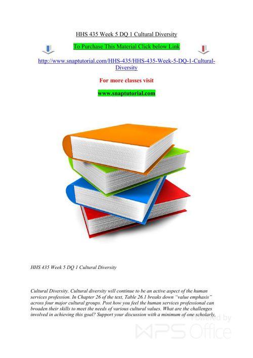 HHS 435 Week 5 DQ 1 Cultural Diversity