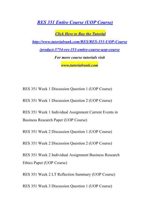 RES 351 Course Success Begins/tutorialrank.com
