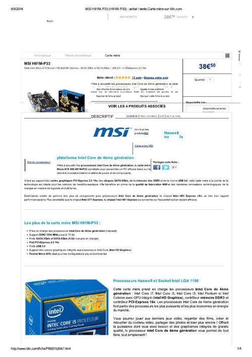 Ordinateur - carte mère du GB1N135 -MSI H81M-P33 - 8 septembre 2