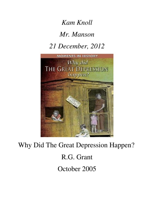 Great Depression project by Kam