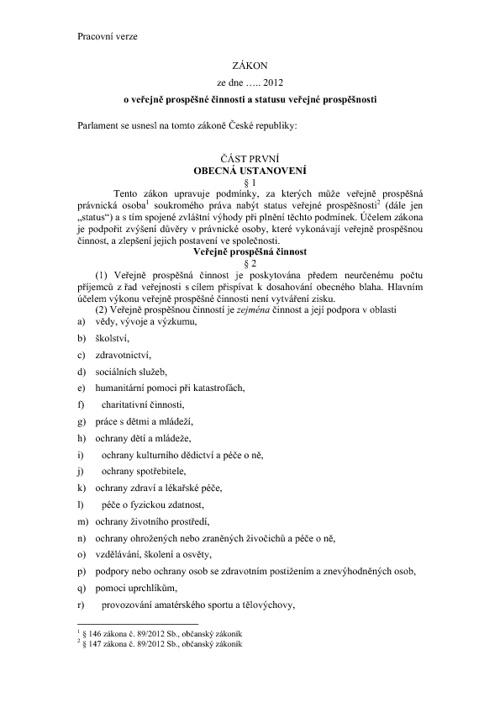 Aktuální verze návrhu zákona o veřejné prospěšnosti