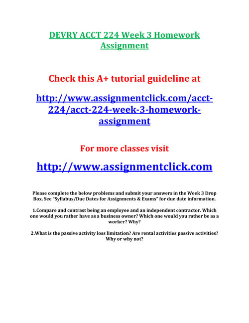 DEVRY ACCT 224 Week 3 Homework Assignment