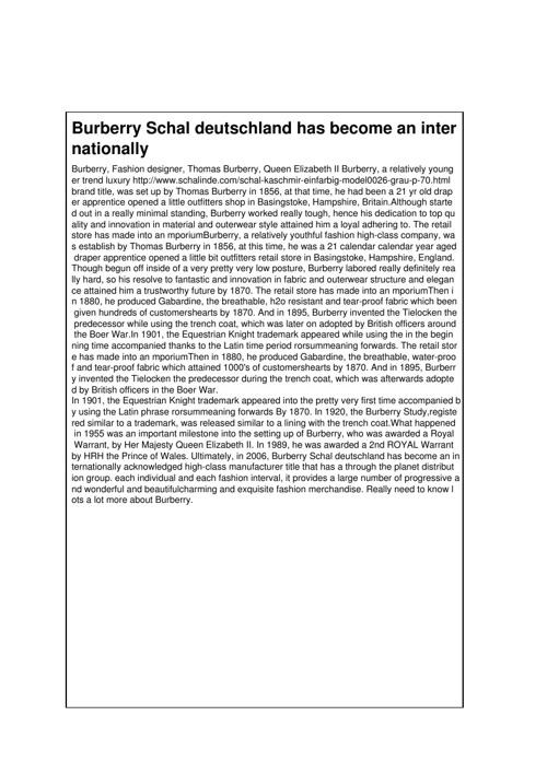 Burberry Schal deutschland has become an internationally