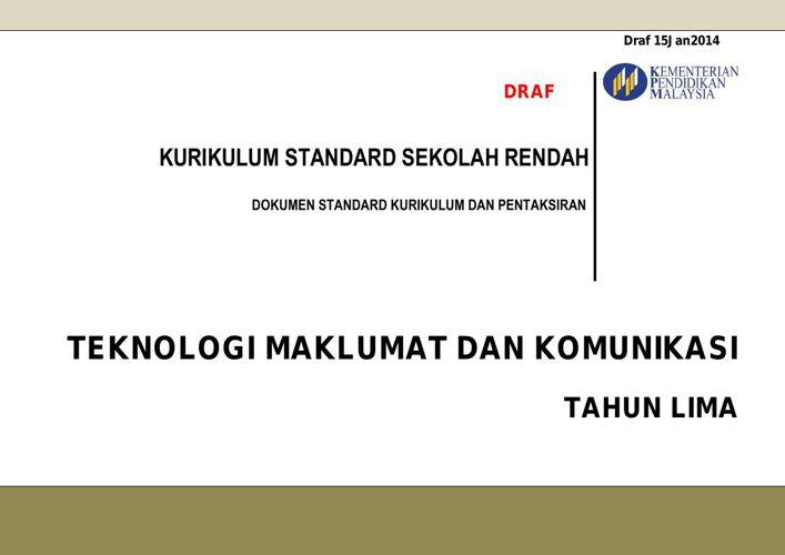 Dokumen Standard Teknologi Maklumat dan Komunikasi Tahun 5 (Terb