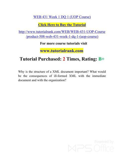 WEB 431 Potential Instructors / tutorialrank.com