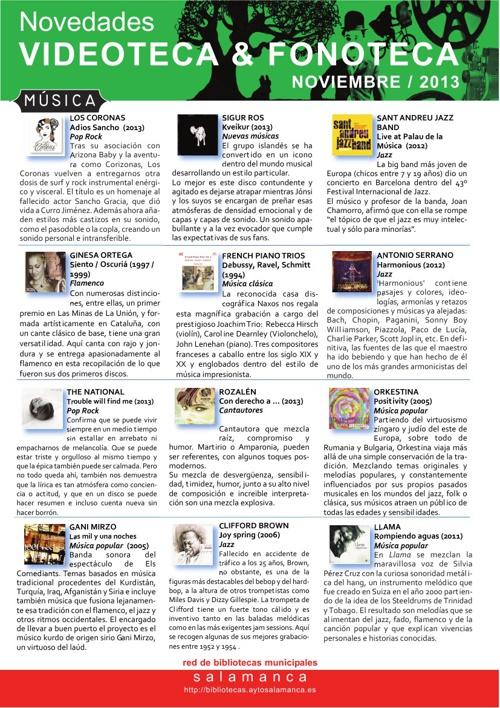 Novedades Videoteca / Fonoteca Noviembre 2013