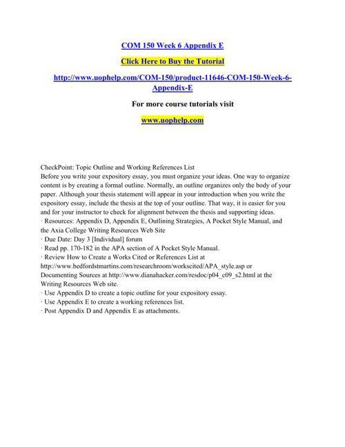 COM 150 Week 6 Appendix E