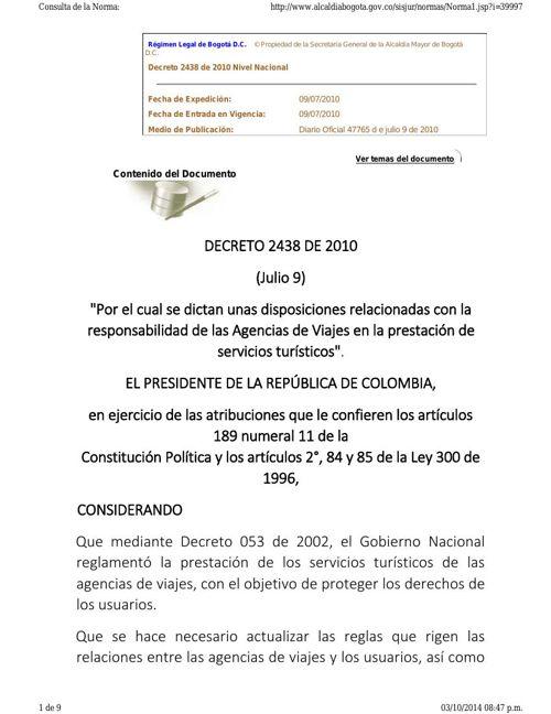8. ley  2438 de 2010responssabilidades de las agencias de viajes
