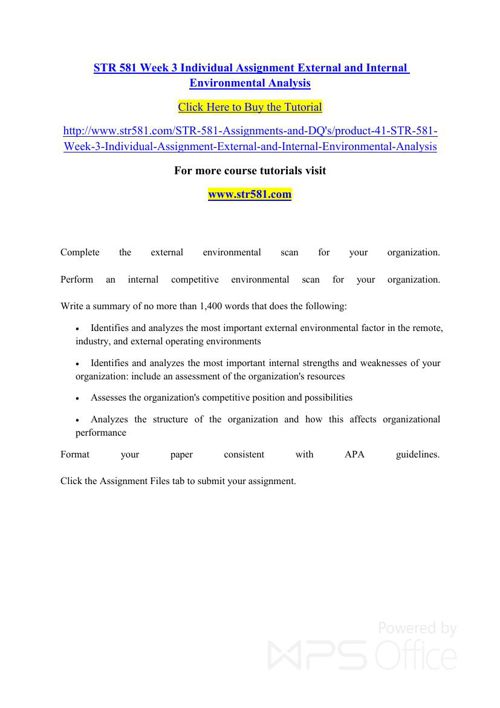 STR 581 Week 3 Individual Assignment External and Internal Envir