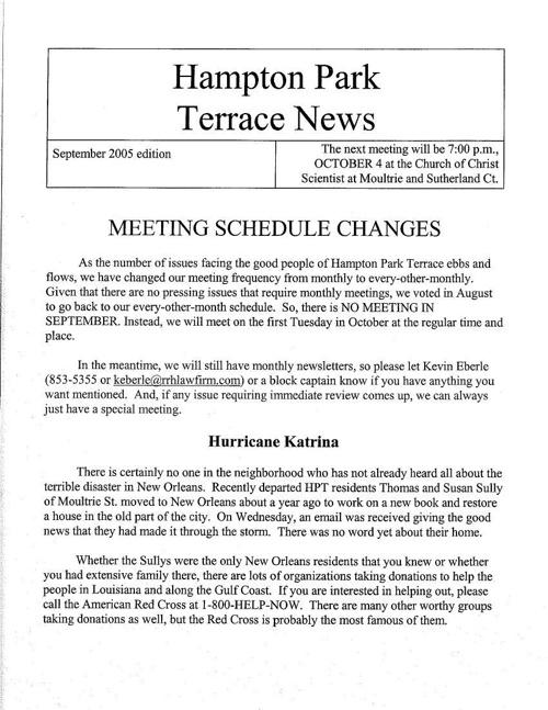 HPT Newsletter September 2005