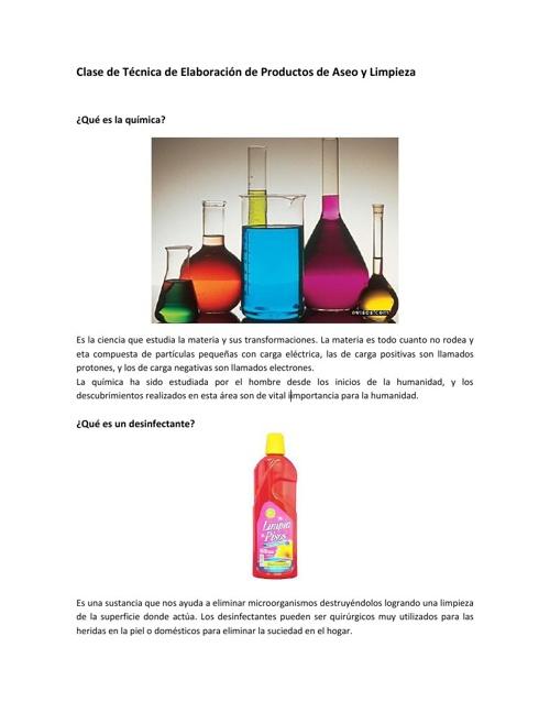 Clase de Técnica de Elaboración de Productos de Aseo y Limpieza