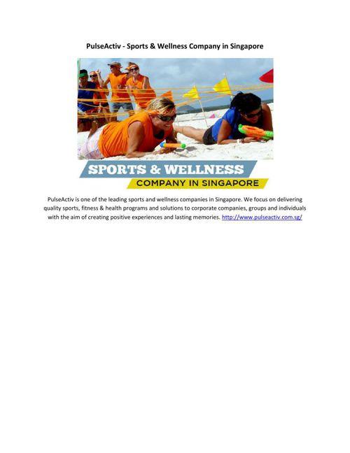 PulseActiv - Sports & Wellness Company in Singapore