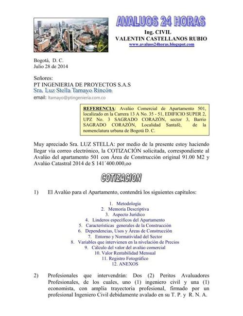 Cotización Avaluo Apartamento 501 Edificio Super 2 P- H