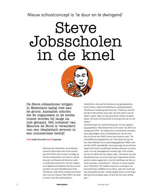 Steve Jobsscholen in de knel