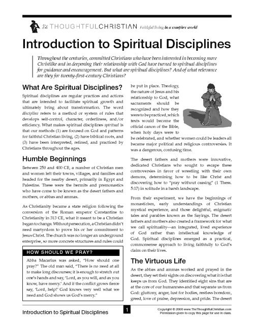 Introduction to Spiritual Disciplines