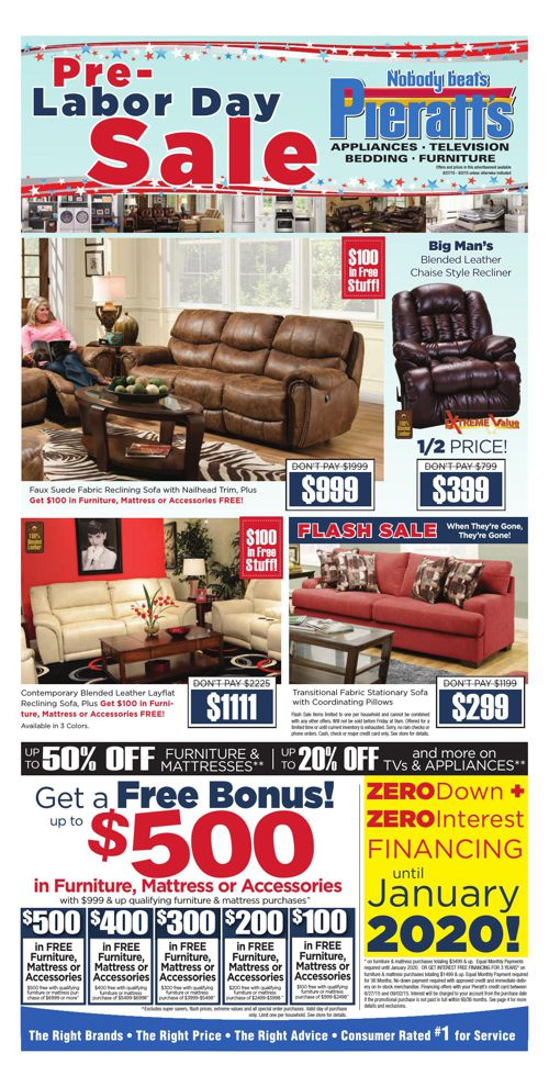 Labor Day Savings Start NOW at Pieratt's!